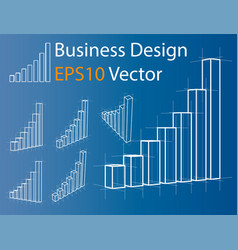 wire-frame graphs set infographics vector image vector image