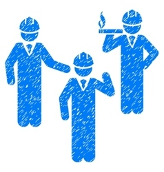 Engineer persons discussion grainy texture icon vector