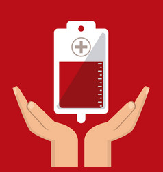 Bag cross hand blood donation icon graphic vector