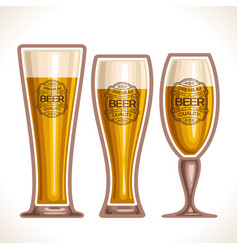Glass cups of beer vector