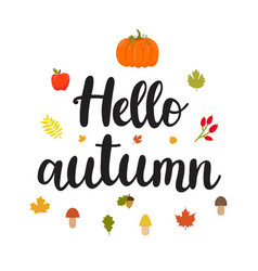 Hello autumn beautiful poster with mushrooms vector