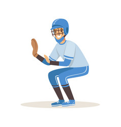 Baseball player in a blue uniform trying to catch vector
