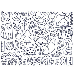 Doodles cute isolated elements vector