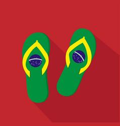 Slippers flat cartoon icon brazil vector