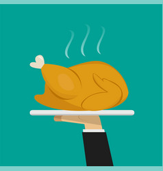 Waiter hand serving roasted chicken on plate vector