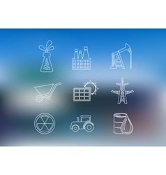 Outline industrial icons set vector