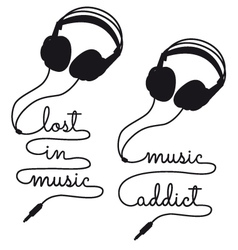 Lost in music headphones vector