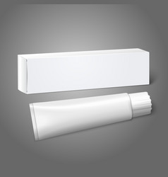 Realistic white blank paper package box with tube vector