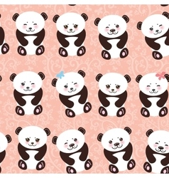 Kawaii funny panda seamless pattern on pink vector