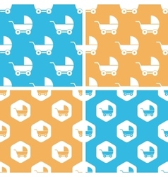 Stroller pattern set colored vector