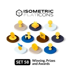 Isometric flat icons set 58 vector