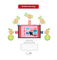 Icon flat style concept online earning vector