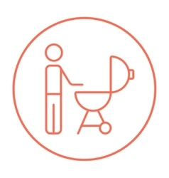 Man at kettle barbecue grill line icon vector