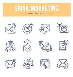 E-mail marketing doodle icons vector
