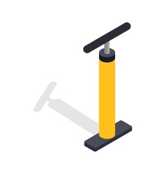 Yellow hand bicycle pump icon isometric 3d style vector