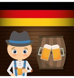 Beer boy flag cartoon barrel hat oktoberfest icon vector image