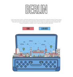 berlin city poster with open suitcase vector image