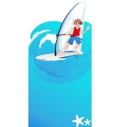 Boy on a sailboard vector