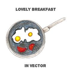 Breakfast by color pencils vector
