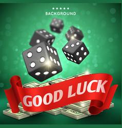 casino dice gambling background good luck vector image vector image