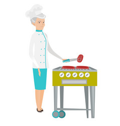 Caucasian chef cooking steak on barbecue grill vector