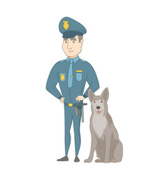 Caucasian police officer standing near police dog vector