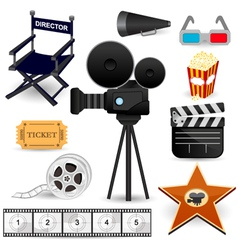 Cinema movie icons vector