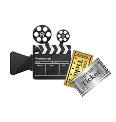 Clapper board and tickets vector