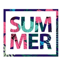colorful tropical print slogan in sqare vector image