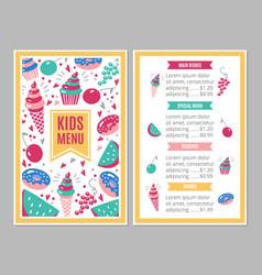 Cute colorful children s menu vector