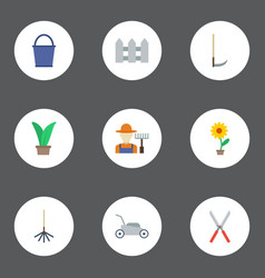 Flat icons bucket plant fence and other vector