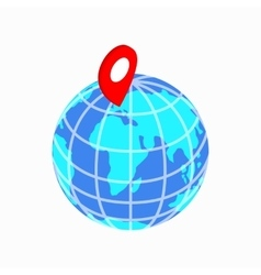 Globe and map pointer icon isometric 3d style vector image