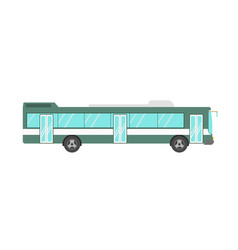 Green colored bus isolated on white vector