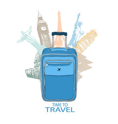 Hand drawn travel bag in the background of world vector