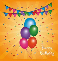 Happy birthday card shining balloons multicolor vector