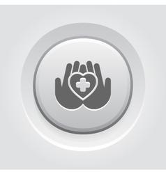 Heart care icon grey button design vector
