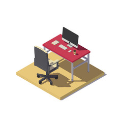 isometric low poly office workplace vector image