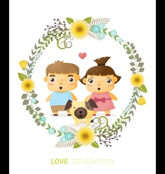 Love generation greeting card 1 vector image vector image