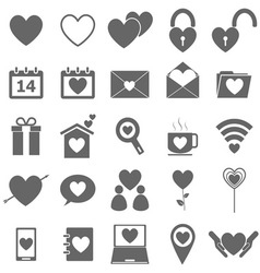Love icons on white background vector image vector image