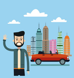 man smiling with car city background vector image