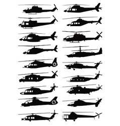 Military and civilian helicopter silhouettes vector
