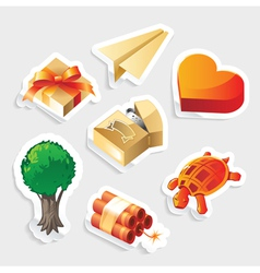 Miscellaneous sticker icon set vector image