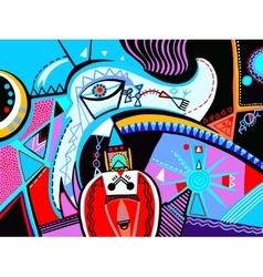 Original abstract digital contemporary art vibrant vector