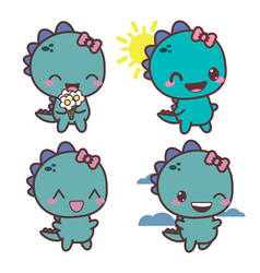 Set of dinosaur happy girl good day vector