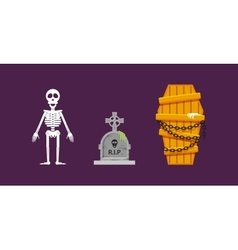Skeleton wooden coffin with chains tombstone for vector