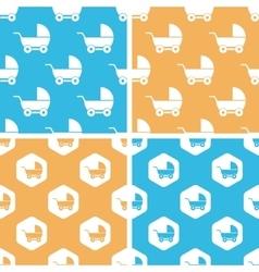 Stroller pattern set colored vector