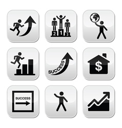 Success in business self development buttons set vector