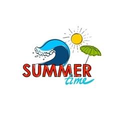 Summer doodle postcard Hand-drawn wave umprella vector image