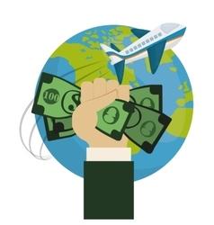 Travel world around hand hold money plane vector
