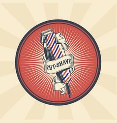 Vintage badge sticker sign for barber vector
